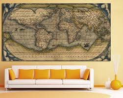World Map Canvas Large Vintage Wall Art Old World Map At Texelprintart Com