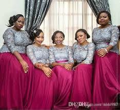 silver lace top 3 4 long sleeves bridesmaid dresses fuchsia skirt