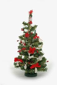 real mini tree tiny ornaments lights
