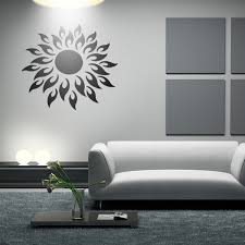 mirror decals home decor sunshine fire round flower diy wall stickers 3d silver mirror wall