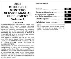 2005 mitsubishi montero wiring diagram manual original