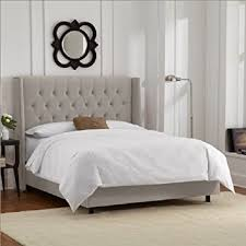 light grey upholstered bed amazon com skyline furniture tufted wingback bed frame in
