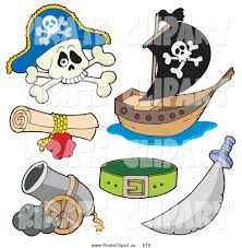 vector clip art of a digital collage of pirate items skull and