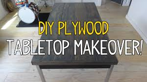 How To Make A Tabletop Out Of Reclaimed Wood by Simple Diy Plywood Plank Tabletop Makeover Youtube
