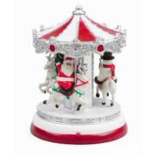 Animated Christmas Village Decorations by Holiday Time Animated Village Amusement Carousel Red Blue Green