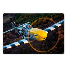 legendary aircraft signs from sporty s pilot shop p 51 mustang yellow nose 12
