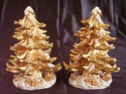 gold glitter resin trees lot of 2 or