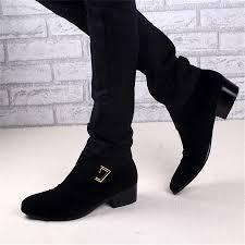 autumn winter joker tide male fashion cow split 4 5cm heels