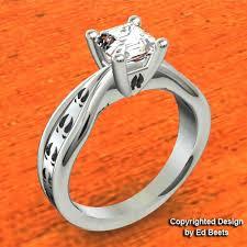 Country Wedding Rings by Deer Track Wedding Set