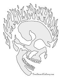 flaming skull stencil free stencil gallery