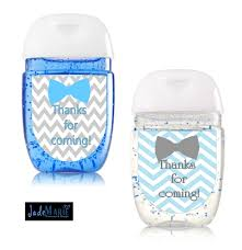 bowtie hand sanitizer labels baby shower favors tiffany blue
