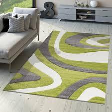 Wohnzimmer Schwarz Weis Grun Designer Teppich Modern Kurzflor Mallorca Mit Wellen Muster In