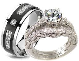 cheap matching wedding bands wedding rings sets for him and cheap trio wedding ring sets