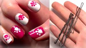 hello kitty inspired nails using a bobby pin easy cute