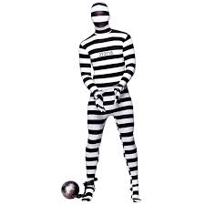 Convict Halloween Costumes Convict Robber Skinz Skin Tight Body Suit Sock Fancy Dress