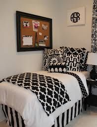 black and white chic and sophisticated dorm room bedding add a pop