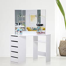 dressing table with mirror and drawers makika corner dressing table mirror set wooden vanity 5 drawers