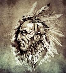 sketch of tattoo art american indian chief illustration on