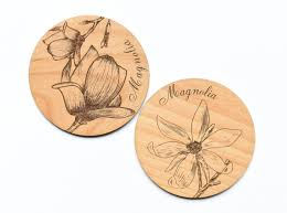 floral magnolia wooden drink coasters set set of 4 u2013 indigo ember