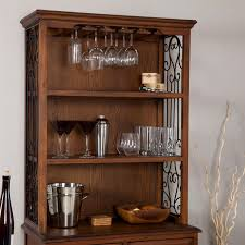 Dark Oak Furniture Dark Oak Wood Finish Bakers Rack Server With Wine Storage Hutch