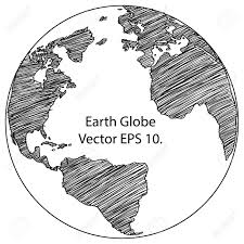 drawn globe outline pencil and in color drawn globe outline