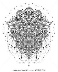 beautiful bohemian floral ornament folk henna vector