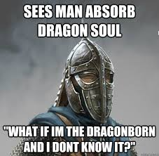 Dragonborn Meme - sees man absorb dragon soul what if im the dragonborn and i dont