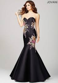 2016 black floral applique prom dress 33689 by jovani shm33689