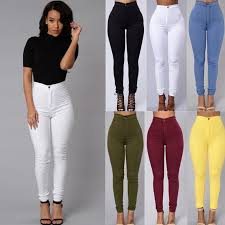 High Waisted Jeggings Plus Size 2017 New Women Vintage High Waist Candy Color Pencil Stretch Pants