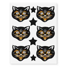 halloween black cat temporary tattoos zazzle