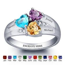 day rings personalized birthstone rings mothers rings 925 sterling silver personalized