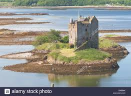 small medieval castle on small island in loch linnhe argyll in the
