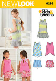 new look 6296 child u0027s and girls u0027 shorts and knit dress or top