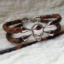 bracelet gold leather man images Popular hot selling real python leather bracelet with 925 sterling jpg