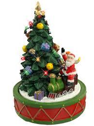santa on train rotating around christmas tree ornament 17cm