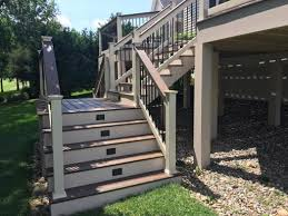 awesome picture of deck steps with landing guide to designing