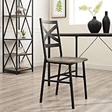 Wood Dining Chairs Walker Edison Furniture Company Angle Iron X Back Barnwood Metal