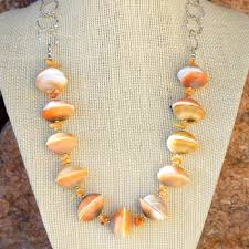 chunky jewelry necklace images Eye of shiva shell handmade necklace orange coral chunky jewelry jpg