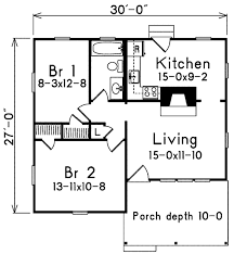 Floor Plans With Porches by Cottage Style House Plan 2 Beds 1 00 Baths 733 Sq Ft Plan 57 499