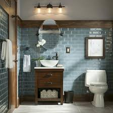 Subway Tile Designs For Bathrooms by Rustic And Modern Bathroom Blue Grey Glass Tiles Bathroom