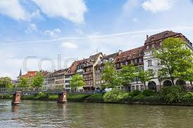 province france embankment of ill river in center of strasbourg city alsace