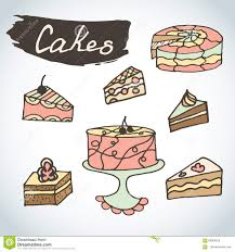 hand drawn sweet cakes set bakery elements sketch excellent for