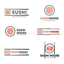 set of vector logos for sushi logo design for restaurants of