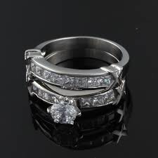 stainless steel wedding ring sets women wedding rings stainless steel cz diamond rings set for women