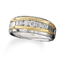 mens two tone gold wedding bands s 1 2 ct t w five band in 10k two tone gold