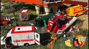 bruder fire truck crash fire truck bruder police car ambulance rescue mission youtube