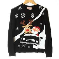 rudolph sweater rudolph and santa in a convertible tacky sweater