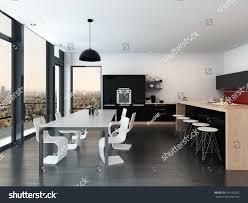 open plan kitchen dining living room modern modern openplan kitchen dining room interior stock illustration