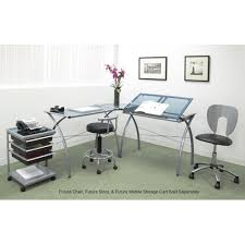 L Shaped Drafting Desk Futura Silver L Shaped Desk With Tilt Studio Designs Executive