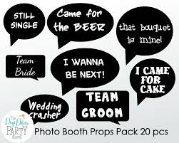 wedding photo booth props printable funny speech bubbles
